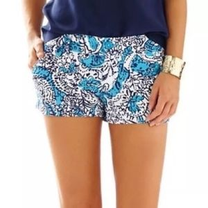 Lilly Pulitzer Shorts - Lilly Pulitzer Walsh Shorts - Blue/White Floral